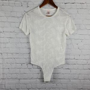 Victoria's Secret  White palm Bodysuit med